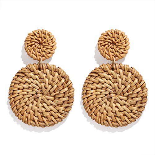YAHPERN Rattan Earrings for Women Girls Handmade Lightweight Wicker Straw Stud Earrings Statement Weaving Braid Drop Dangle Earring (Rattan Disk)