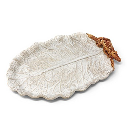 Charlestowne Porcelaine Cabbage Leaf with Alligator Oval Tray