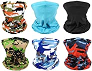 MENOLY 6 Pack Neck Gaiters Cooling Summer Face Cover Scarf Bandana Headwear Headbands Windproof Gaiters for Me