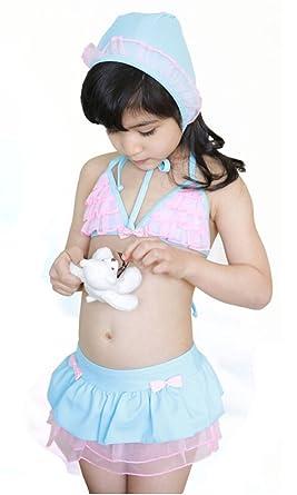 05466b63a3 Demarkt Baby Girls' Cute 3 in 1 Set Swimwear Swimsuit Bathing Suit Gauze  Pleated Bowknots