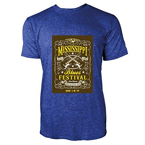 SINUS ART® Retro Poster aus den 60ern und 70ern Herren T-Shirts in Vintage Blau Cooles Fun Shirt mit tollen Aufdruck