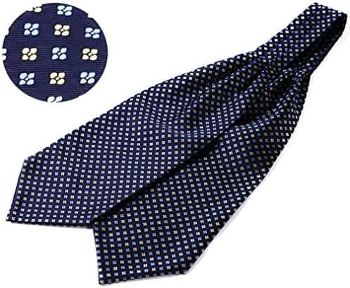 SetSense Men's Floral Jacquard Woven Self Cravat Tie Ascot One Size Navy Blue / Yellow