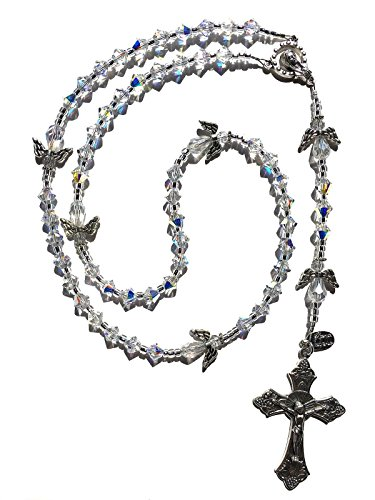 Swarovski Crystal Angel Silver Catholic Prayer Rosary Beads - Communion, Baptism, Memorial, Christmas, Easter, Wedding Gift
