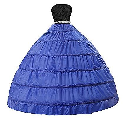 Edith qi Sottogonna Petticoats trascinamento, 6 cerchio, 2 strati, Petticoat Crinolina sottoveste, per Vestito Abito da Sposa UEP-006-White Lace