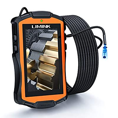 L LIMINK Industrial Endoscope, Inspection Camera with 5.3mm Lens & 4.3in LCD Screen, Semi-Rigid Snake Camera IP67 Waterproof Borescope with Dimmable LED Lights - 9.8FT