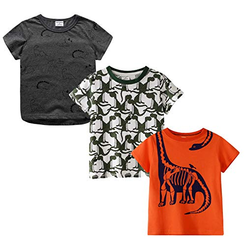MSsmart Toddler Boys Graphic Tee Summer Clothes Casual T-Shirt 3-Pack Size -