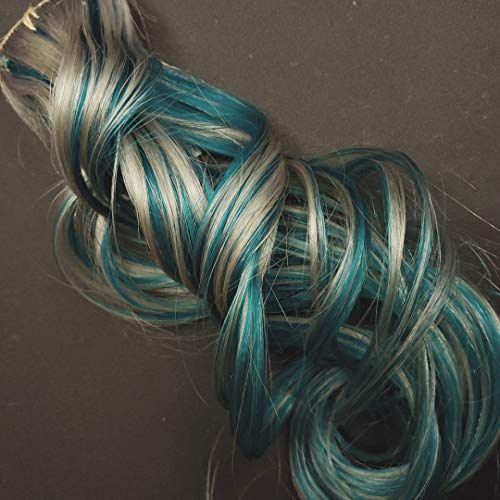 """12"""" Violet Silver and Jade Turquoise Teal Galaxy Unicorn Clip In Human Hair Extensions Set"""