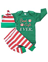SUPEYA Baby Girls Boys Christmas Outfit Best Gift Rompers+Stripe Pants+Hat 3Pcs Set