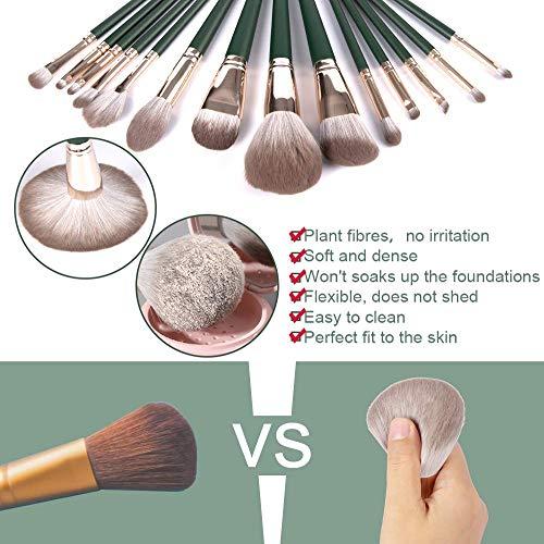 DANVCCAL Makeup Brushs, 14+1Pcs Professional Makeup Brush Set, Advanced Plant Fiber And Solid Wood Brush Handle, Foundation Loose Powder Blush Eye Shadow Brush Set, With Makeup Brush Cleaning Mat