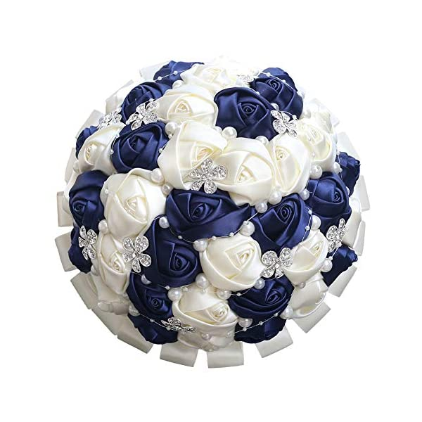 WJYIKEE Handmade Romantic Wedding Bouquet Bridal Holding Bouquets Bride Bridesmaid Bouqeut Wedding Decoration Silk Flowers with Rhinestone Decor (Royal Blue+Beige)