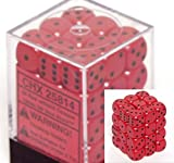 Chessex Dice d6 Sets: Opaque Red with Black - 12mm Six Sided Die (36) Block of Dice
