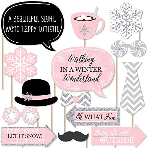 Big Dot of Happiness Pink Winter Wonderland - Holiday Snowflake Birthday Party or Baby Shower Photo Booth Props Kit - 20 Count for $<!--$19.99-->