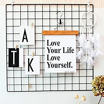 Kleanner Metal Wire Mesh Grid Panel, Mesh Memo Board Wall Art Display & Hanging Organizer , Pack of 2 Pcs, Square Size:23.6 x 23.6, Black