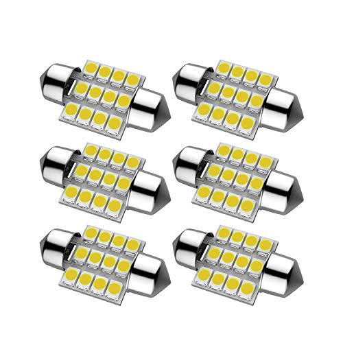 31mm Festoon LED Light Lamp Bulb, Extremely Bright 12SMD 3528 LED Chipsets, DE3175 DE3021 DE3022 6428 6430, for Car Interior Dome Map Door Courtesy Lights, 6000K Xenon White (Bulb Light Festoon Lamp)