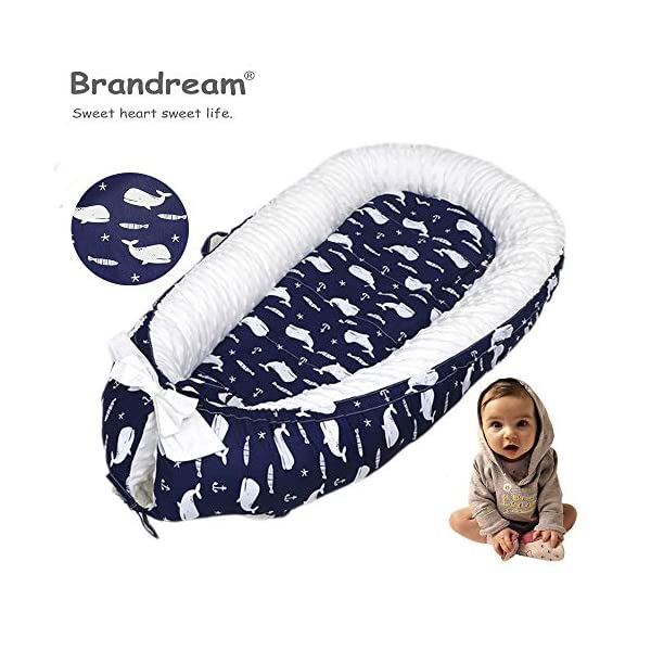 Brandream Baby Nest Bed Whale, Navy Baby Newborn Lounger,Double-Sided Babynest,Breathable Baby Bassinets for Bed Portable Crib Bed Pretect for Co Sleeping 100% Cotton, Ocean Animal Theme