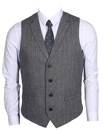 Ruth&Boaz 2Pockets 4Buttons Wool Herringbone/Tweed Tailored Collar Suit Vest (XL, Herringbone navy) ()