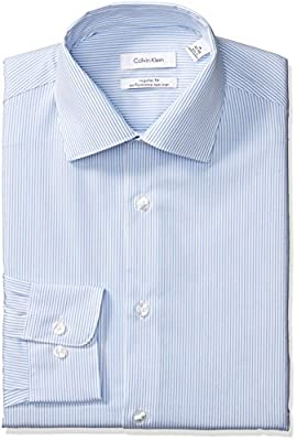 Calvin Klein Men's Dress Shirts Non Iron Regular Fit Stretch Stripe