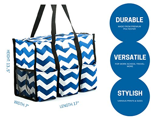 Pursetti Teacher Bag with Pockets - Perfect Gift for Teacher's Appreciation and Christmas (Large, Navy Chevron) by Pursetti (Image #1)