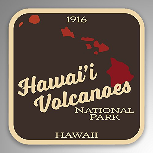 JMM Industries Hawai'i Volcanoes National Park Vinyl Decal Sticker Car Window Bumper 2-Pack 4-Inches by 4-Inches Premium Quality UV Protective Laminate NPS090