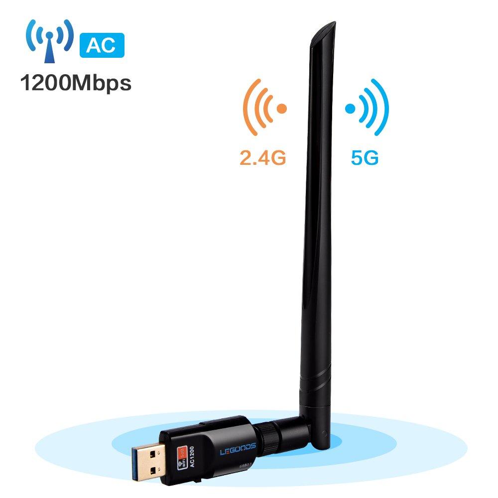 Wifi Adapter AC1200,USB 3.0 Wifi Dongle Dual Band 2.4G/5G Wireless Network Card with 5dBi High Gain Antenna for PC /Desktop/Laptop/Table Windows XP/2000/Vista/7/8/10,Mac OS