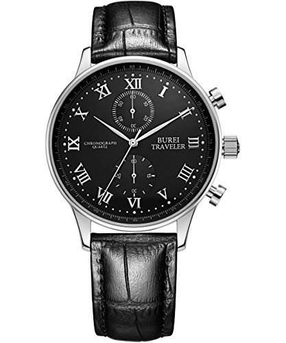 BUREI Beiläufig Herren Chronographenuhr in Analoge mit schwarzem Uhrenlederband und schwarzem Ziffernblatt