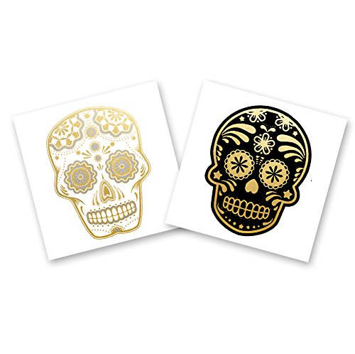 SKULLS VARIETY SET of 24 assorted premium waterproof metallic gold and silver jewelry temporary foil party Flash Tattoos - skull tattoo, Halloween party, sugar skull, party (Cinco De Mayo Halloween Makeup)
