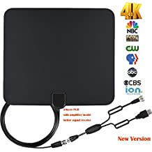 Indoor TV antenna, TaoQi Digital TV antenna indoor, 60 miles+ range with Detachable Signal Amplifier Booster for 4K 1080P HD High Signal Reception - New Version