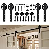 Kirin 9 FT Sliding Wood Barn Door Hardware Kit Black Heavy Duty Interior Rolling Door Track Set for Double Doors with Classic Spoke Big Wheel Hangers and 9ft Rail