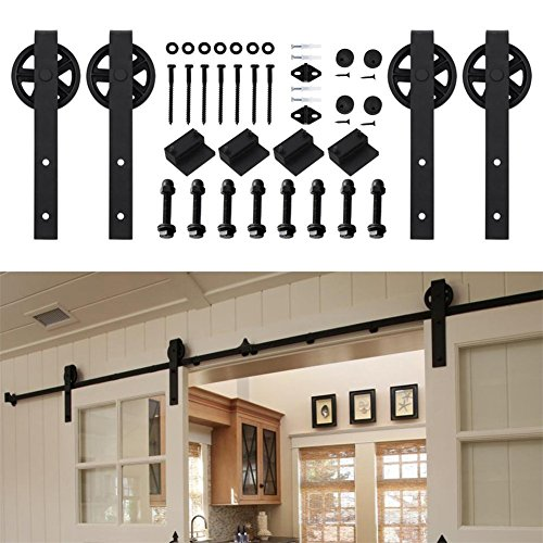 Kirin 9 FT Sliding Wood Barn Door Hardware Kit Black Heavy Duty Interior Rolling Door Track Set for Double Doors with Classic Spoke Big Wheel Hangers and 9ft Rail by kirin