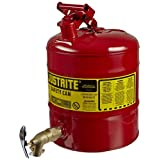Justrite 7150150 Type I Galvanized Steel Laboratory Safety Shelf Can with Rigid Brass Safety Bottom Faucet, 5 Gallon Capacity, Red