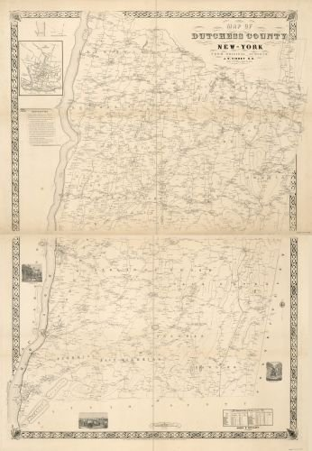 Map Of New York 1850.1850 Map Of Dutchess County New York From Actual Surveys Size 16x24 Ready To Frame Dutches