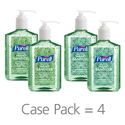 PURELL Advanced Hand Sanitizer Soothing Gel for the workplace, Fresh scent, with Aloe and Vitamin E - 8 fl oz pump bottle (Pack of 4) - 9678-06-ECDECO