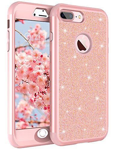 Tobomoco iPhone 8 Plus Case, iPhone 7 Plus Case, Luxury Shockproof Sleek Glitter Sparkly Bling Cute Shiny 3 in 1 Hybrid Hard PC Soft Silicone Protective Phone Cover for Girls & Women, Rose Gold
