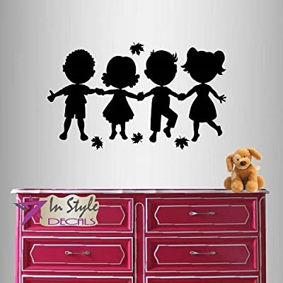 Wall Vinyl Decal Home Decor Art Sticker Cute Little Kids Holding Hands Nursery Bedroom Play Room Removable Stylish Mural Unique Design: Home Improvement