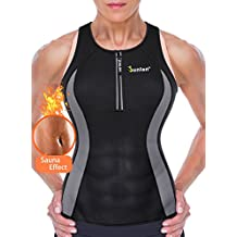 Junlan Women Neoprene Tank Top For Sport Weight Loss Workout Yoga Shirt Clothes Gym Vest Fitness Exercise Athletic Activewear