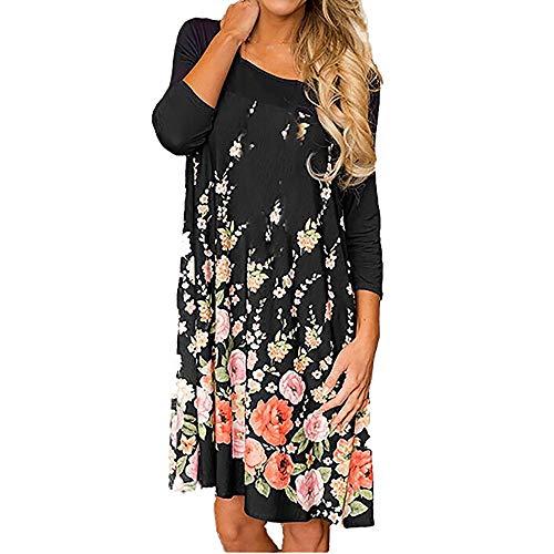 AmyDong Womens Floral Dress Fashion Long Sleeve Casual Sundress Print O-Neck Pocket Dress(Black C,XL)