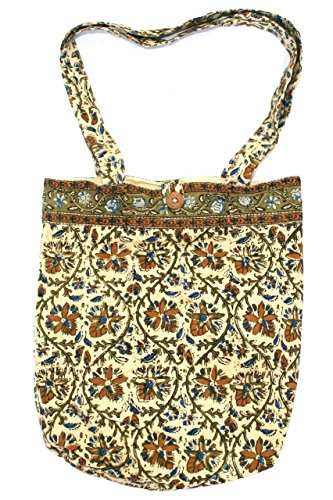 Block Printed Cotton Kalamkari College Tote Bag 15 x 15