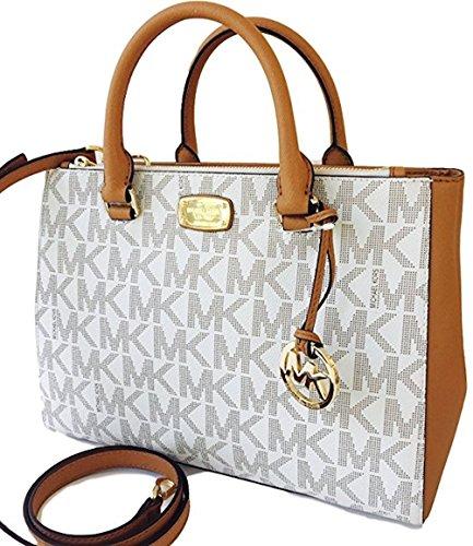 a1b129847984 Michael Kors Kellen Medium Satchel Crossbody Bag Vanilla Acorn Brown by Michael  Kors
