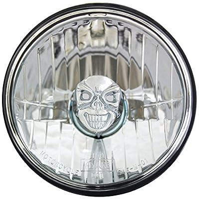 "Adjure 5-3/4"" Rodeo Drive Style Motorcycle Headlight Bucket Combo with Diamond Cut Skull Headlamp"