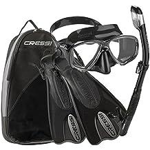 Cressi Made In Italy Palau Short Brisbane Mask Fin Snorkel Set, TT-LXL