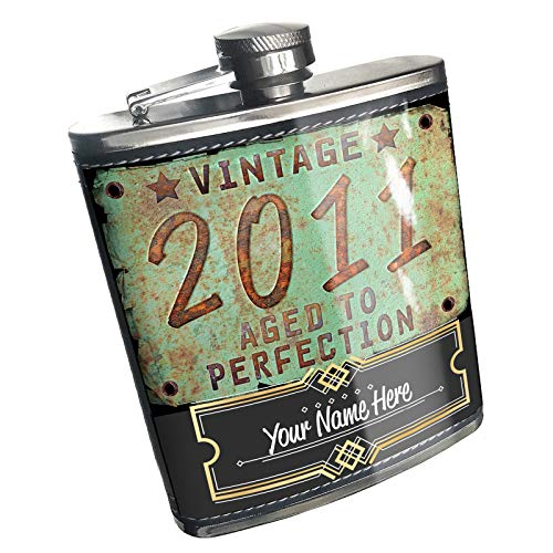 Neonblond Flask Vintage Year 2011, Born/Made Custom Name Stainless Steel