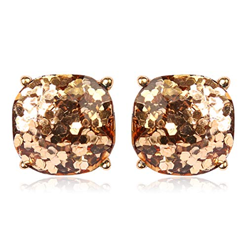 RIAH FASHION Square Glitter Stud Earrings for Women - Sparkly Small Sequin Confetti Cushion Post Back Statement Studs (Glitter - Gold)