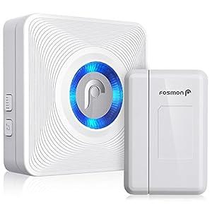Fosmon WaveLink 51004HOM Wireless Door Open Chime (Operating Range - 120M/400FT   52 Chime Tunes   4 Volume Levels   LED Indicators) - 1 Magnetic Door Chime Sensor, 1 Plugin Receiver