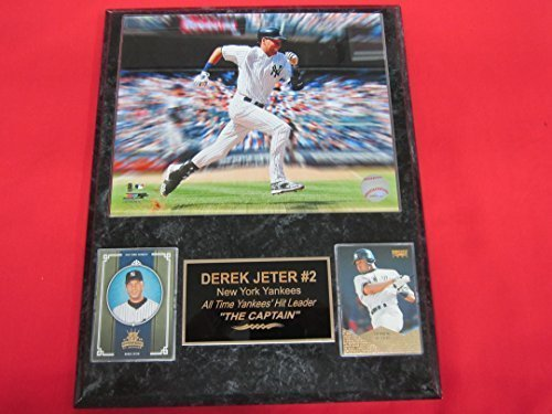 Yankees Derek Jeter 2 Card Collector Plaque w/ 8x10 Photo Starburst Effect NICE!
