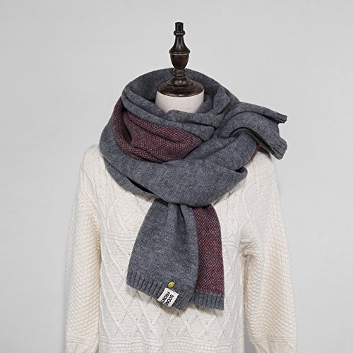 MH-RITA All-Match Knitting Wool Scarf Scarf Thick Solid,Gray