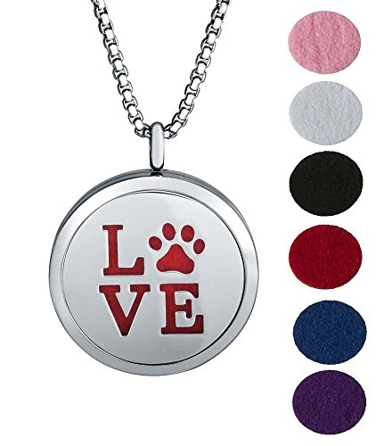 Price comparison product image Aromatherapy Essential Oil Diffuser Chain Necklace Love Bear Paw Pattern Stainless Steel Locket Pendant
