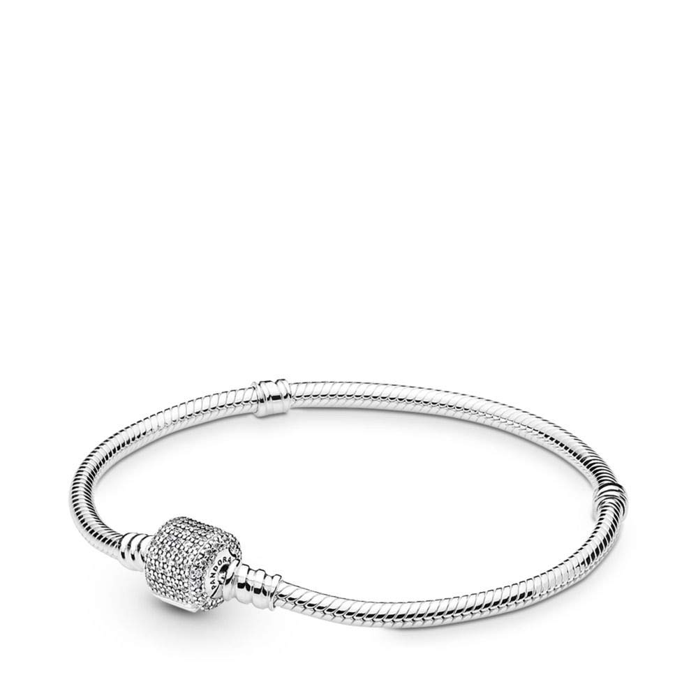 PANDORA Sterling Silver Bracelet with Signature Clasp, Clear Cubic Zirconia, 8.3 IN