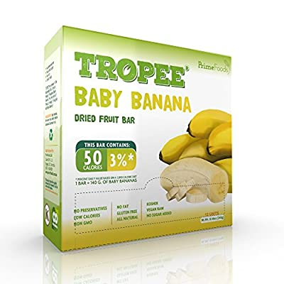 TROPEE Gluten Free Food Fruit Bars - Baby Banana 20g, Box of 12. Healthy Snack Bars for the Vegan Diet which are Sugar Free, Kosher Food, Fruit Snacks. Perfect Vegan Gifts with Low Calorie Snacks