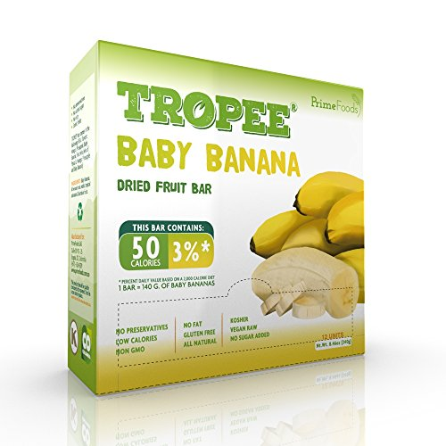 TROPEE Gluten Free Food Fruit Bars - Baby Banana 20g, Box of 12. Healthy Snack Bars for the Vegan Diet which are Sugar Free, Kosher Food, Fruit Snacks. Perfect Vegan (Healthy Beach Snacks)