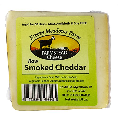 (RAW SMOKED CHEDDAR from BREEZY MEADOWS FARM (GOAT MILK ONLY) 8 OZ)